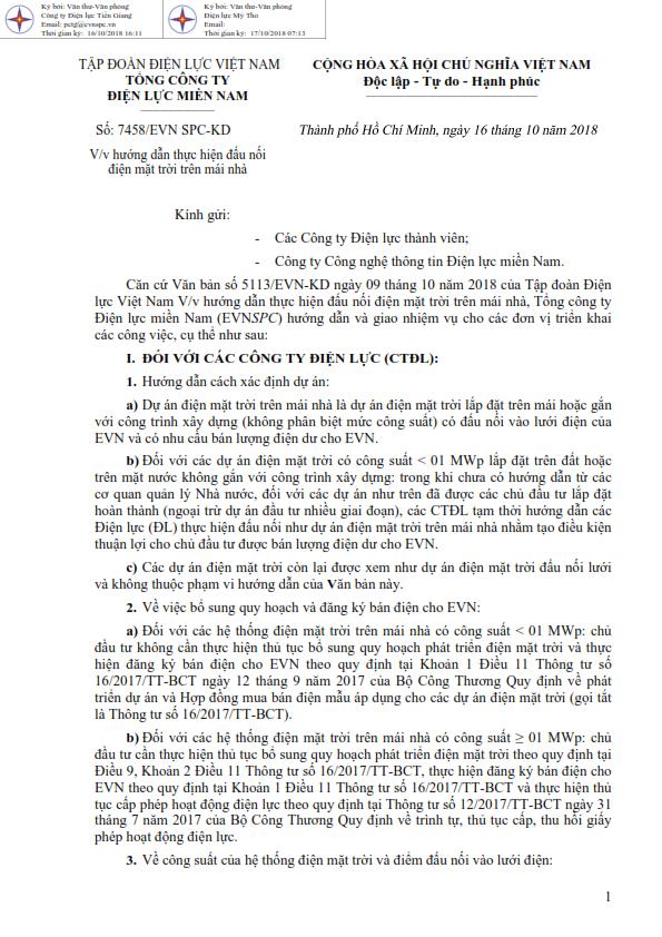 Văn bản số 5113/EVN-KD ngày 09 tháng 10 năm 2018 của Tập đoàn Điện lực Việt Nam hướng dẫn đấu nối điện mặt trời trên mái nhà