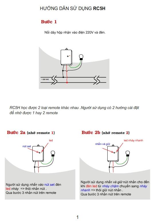 Công Tắc Điều Khiển Từ Xa 1 Kênh Học Lệnh RC5H