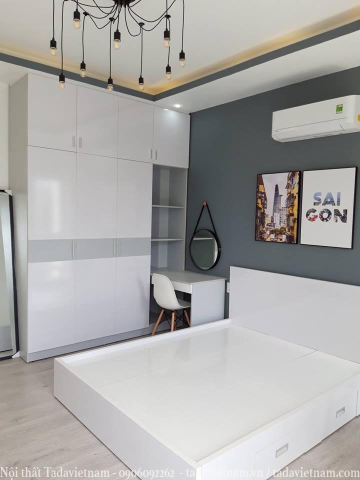 giường tủ nội thất màu trắng hiện đại