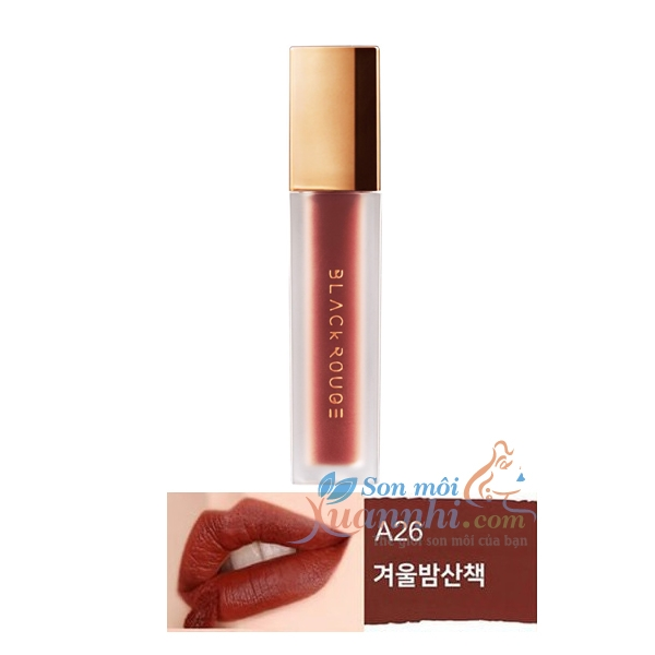 A26 Đỏ nâu trầm ánh cam Son Black Rouge Air Fit Velvet Tint Version 5