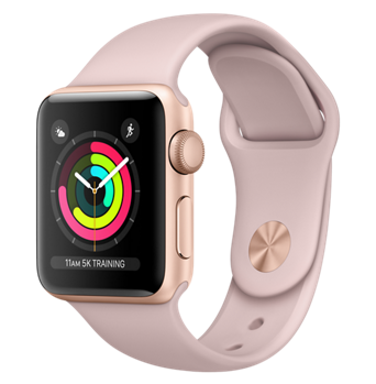 Apple Watch Series 3 GPS, 42mm Gold Aluminum Case with Pink Sand Sport Band (MQL22)