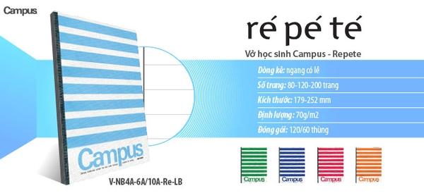 Kết quả hình ảnh cho Vở kẻ ngang RePeTe Campus200 trang