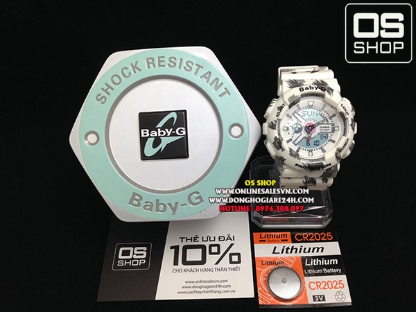 BABY-G BA-110 LEOPARD WHITE - NEW 2015