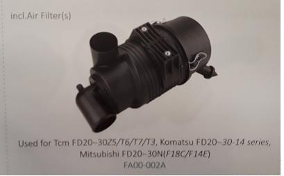 Bầu lọc gió xe nâng TCM FD20~30Z5/T6/T7/T3, Komatsu FD20~30-14 series, Mitsubishi FD20~30N (F18C/F14E), Mã SP FA00-002A