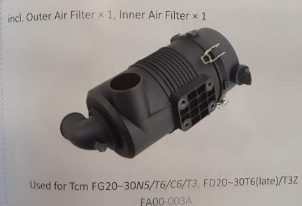 Bầu lọc gió xe nâng TCM FG20~30N5/T6/C6/T3, FD20~30T6 (late)/T3Z, Mã SP: FA00-003A