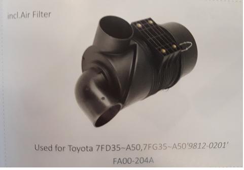 Bầu lọc gió xe nâng Toyota 7FD35~A50, 7FG35~A50'9812-0201', Mã SP: FA00-204A