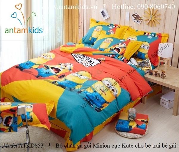 Chăn ga gối hình minion, drap mền trải giường cho bé trai bé gái