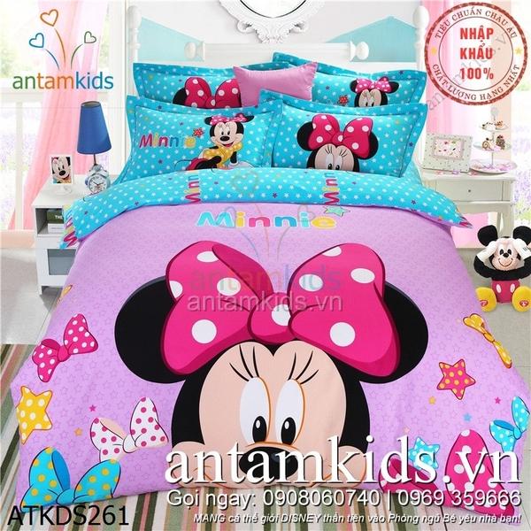 Chăn ga gối Minnie mouse mickey cho bé gái màu hồng