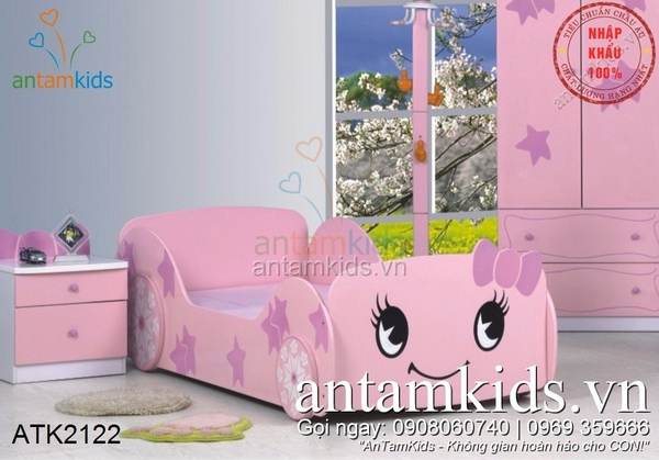Giường Ngủ Hình ô Tô Hello Kitty Cho Bé Gái Màu Hồng Siêu