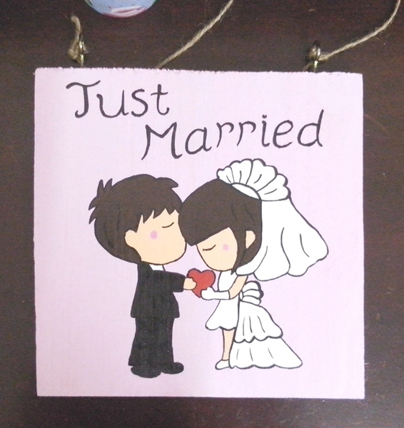 Bảng gỗ treo Just Married BG032