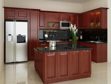 Kết quả hình ảnh cho tủ bếp gỗ giáng hương