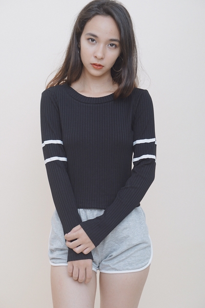 Varsity Long Sleeve Crop Black