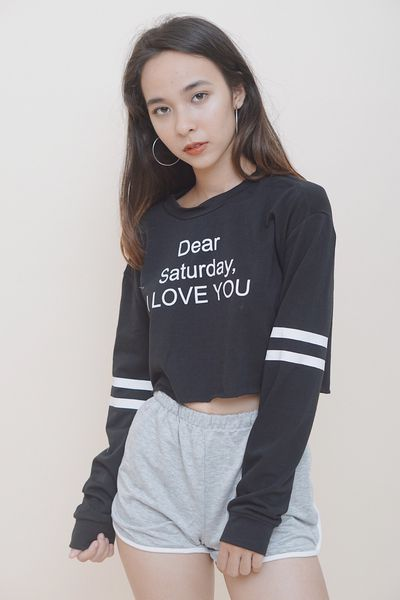 Dear Saturday, I Love You Varsity Long Sleeve Black Crop