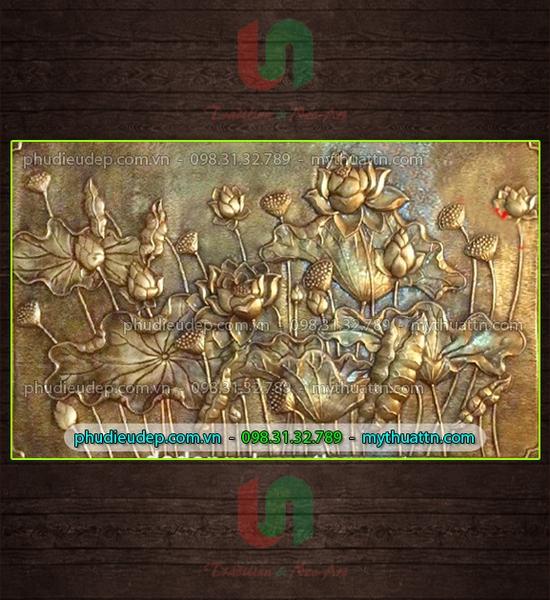 phù điêu hoa sen giả đồng 057 - phù điêu trang trí đẹp tại HN