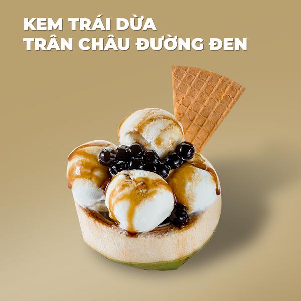 Kem trái dừa Trân châu đường đen