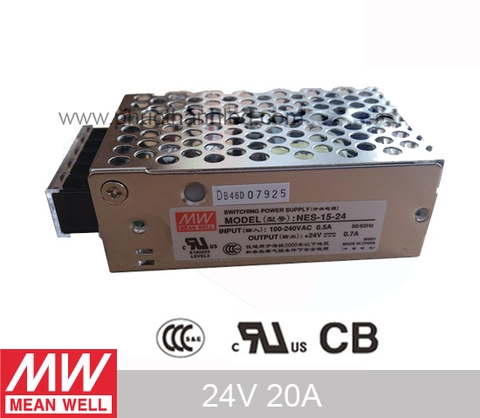 Nguồn Mean Well 24V 20A Nes 500W (Quạt)