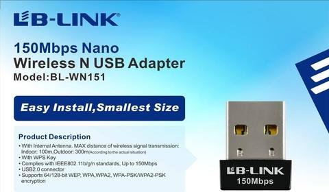 BỘ THU WIFI USB NANO CHUẨN N 150MBPS BL-WN151