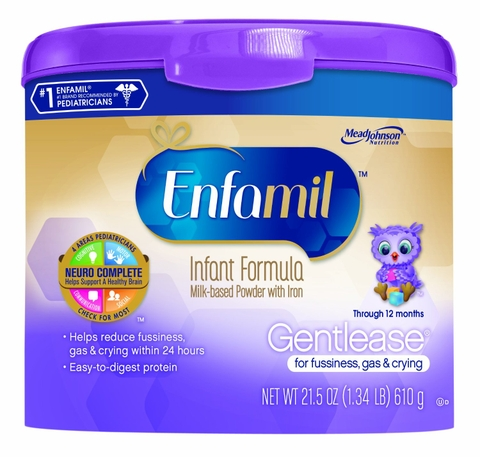 Sữa bột cho bé Enfamil Gentlease Infant Formula Milk-Based Powder with Iron, Reusable Tub