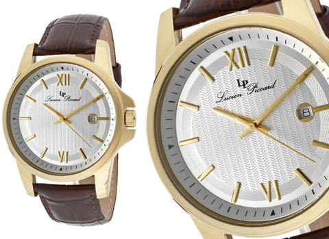 Đồng hồ Lucien Piccard Breithorn Dark Brown Genuine Leather Silver-Tone Dial