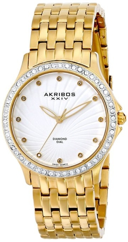 Đồng hồ Akribos XXIV Women's AK620YG Lady Diamond Swiss Quartz Diamond and Crystal Gold-tone Stainless Steel