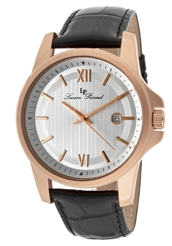 Đồng hồ Lucien Piccard  Breithorn Black Genuine Leather Silver-Tone Dial Rose-Tone Case