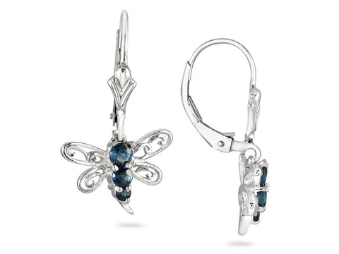 Hoa tai 1/2 CARAT SAPPHIRE BUTTERFLY HOOP EARRINGS IN .925 STERLING SILVER