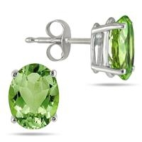 Hoa tai 6X4MM ALL NATURAL OVAL PERIDOT STUD EARRINGS IN .925 STERLING SILVER