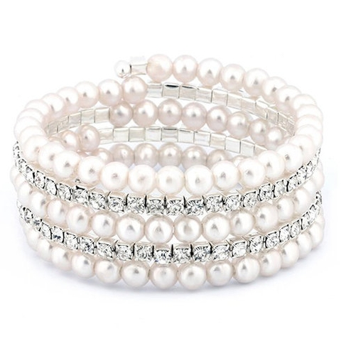 Vòng tay Freshwater Pearls Wrap Bracelet with Swarovski Elements Cultured Freshwater Pearls
