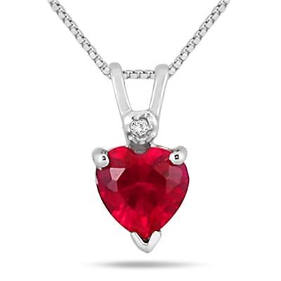 Dây chuyền 6MM HEART SHAPE LAB CREATED RUBY AND GENUINE DIAMOND PENDANT IN .925 STERLING SILVER