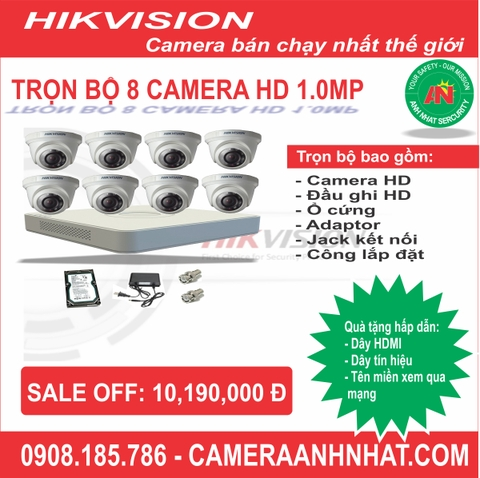 Bộ 8 camera Dome HD 1.0Mp Hikvision