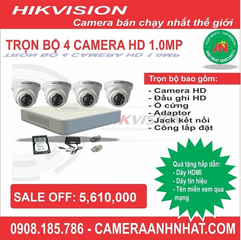 Bộ 4 camera Dome HD 1.0Mp Hikvision