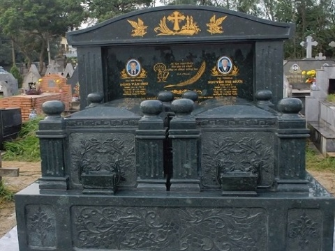 mộ đá đôi đá xanh