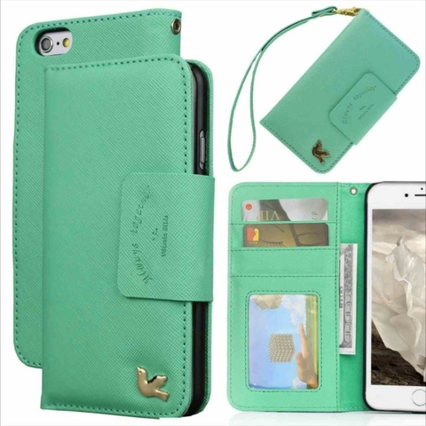 Bao Da iPhone 6S Plus Premium PU Leather (Xanh)