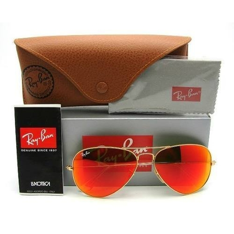 Mắt kính Ray-Ban AVIATOR LUXOTTICA ORANGE MIRROR GOLD FRAME RB3025//112-69 MADE IN ITALY