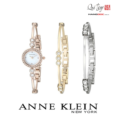Anne Klein Women's Swarovski Crystal Accented Rose Gold Tone Bangle Watch and Bracelet Set