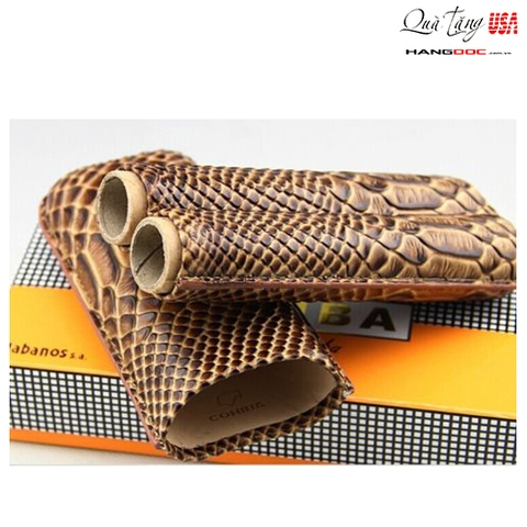 Ống đựng cigar Cohiba Rattlesnake Embossed Leather 2 Tube Cigar Case Travel Humidor