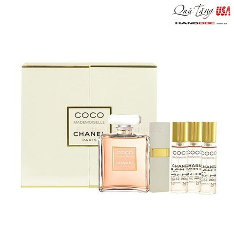 Dầu thơm nữ Coco Mademoiselle Chanel Eau de Parfum Spray 50ml & Refillable Eau de Parfum Purse Spray 7.5ml & 3 x 7.5ml Refills