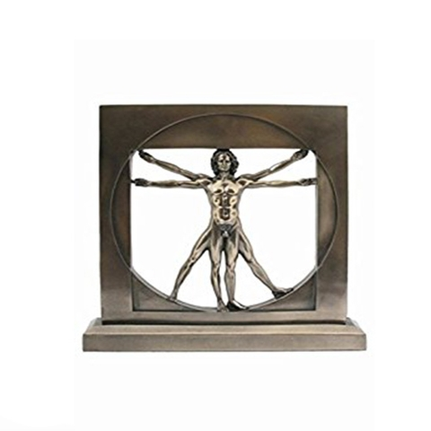 Vitruvian Man By Leonardo Da Vinci Male Nude Figure Bronze Powder Cast Statue 8-1/2 Inch