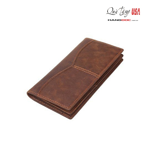 Ví nam cầm tay da bò - Texbo Men's Genuine Cow Leather Bifold Long Wallet Brown