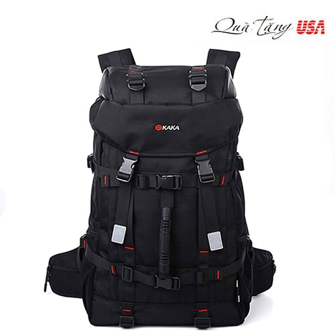 KAKA Backpack Sports Weekend Gym Bag Camping Climbing Mountain Black Backpack 55L Large