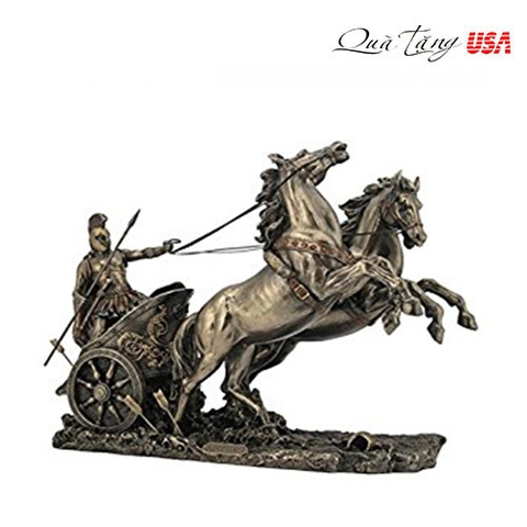 Chiến binh Achilles thành troy Achilles On Two Horse Chariot Statue Sculpture Figurine Troy Greek Decor