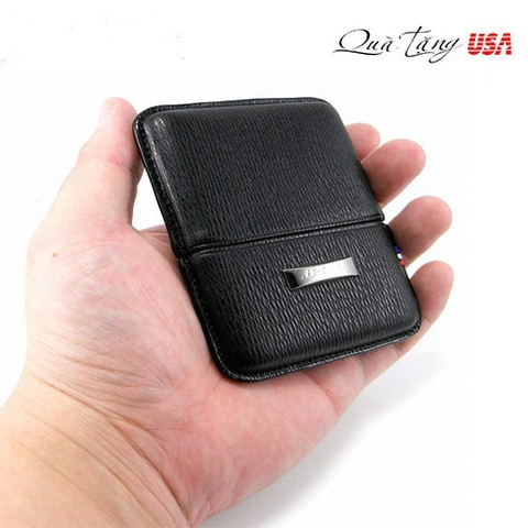 Bao da đựng cigar mini S.T. Dupont Black Leather Cigarette Case