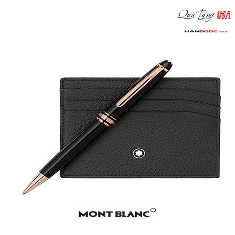 Montblanc bút và ví đựng card -  Montblanc Red Gold Classique Ballpoint Pen, Soft Grain Pocket Holder