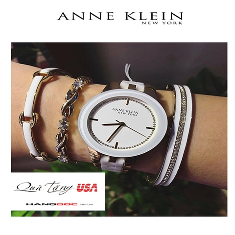 Anne Klein Womens Gold Tone Ceramic Watch & 3 Bracelet Set