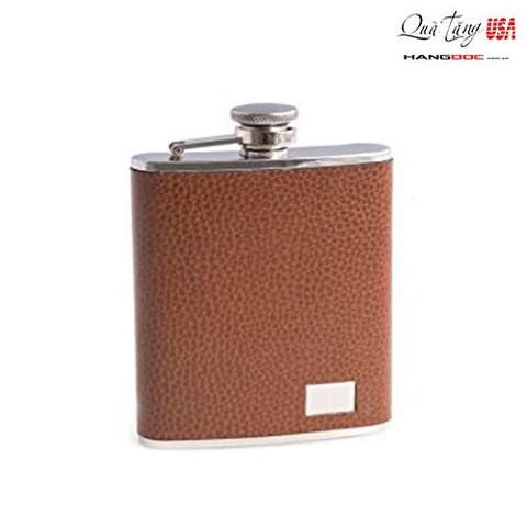 Bình đựng rượu - Bey Berk 6 oz. Stainless Steel Brown Leather Flask