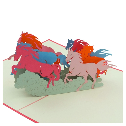EIGHT HORSES-3D CARD/POPUP CARD/GREETING CARD/ CONGRATULATIONS CARD