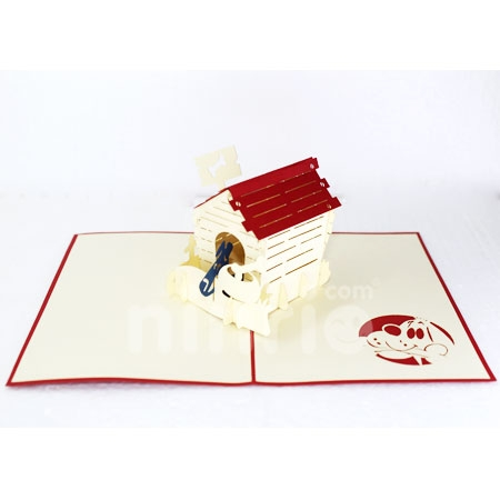 DOG HOUSE-3D CARD/POPUP/BIRTHDAY CARD