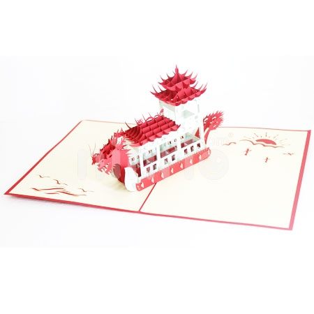 DRAGON BOAT-3D CARD/POPUP/CONGRATULATIONS CARD/BOAT CARD