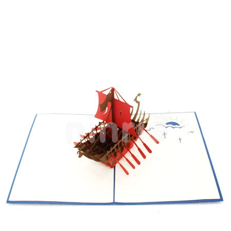 VIKING SHIP-3D CARD/POPUP/CONGRATULATIONS CARD