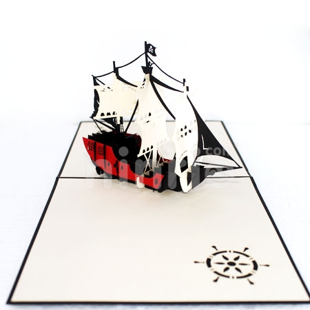 PIRATE SHIP-3D CARD/POPUP/BOAT CARD
